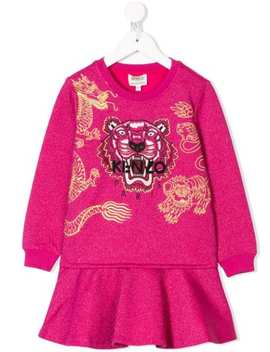 Chinese New Year Capsule Logo Tiger Embroidered Dress by Kenzo Kids