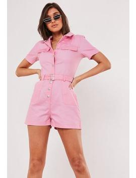 Pink Belted Utility Playsuit by Missguided