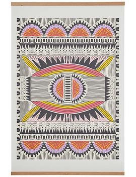 "Tribal Multi Color Art Print With Oak Hanger, 18"" X 24"" by Rivet"