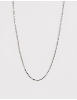 Asos Design Necklace In Fine Crystal Cupchain In Silver Tone by Asos Design