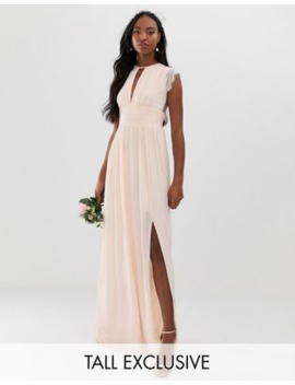 Vestido Largo De Dama De Honor Rosa Perla Con Detalle De Encaje De Tfnc Tall by Tfnc