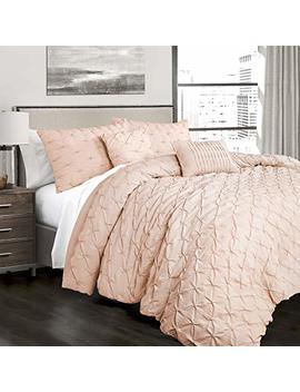 Lush Decor Ravello Shabby Chic Style Pintuck Blush 5 Piece Comforter Set With Pillow Shams Full Queen by Lush Decor
