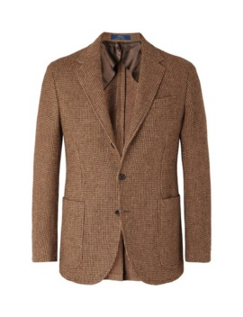 Brown Slim Fit Checked Wool And Alpaca Blend Blazer by Polo Ralph Lauren