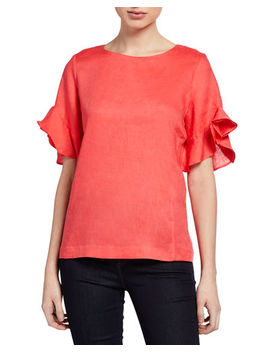 Ruffle Sleeve Linen Zip Blouse by Neiman Marcus