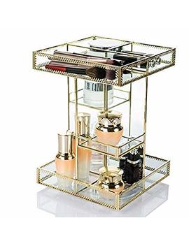 Display4top Antique Makeup Organizer,360 Degree Rotation Adjustable Jewelry Retro Countertop Cosmetic Storage Box,For Brushes Lipsticks Skincare Toner Perfume,Vanity Display (Gold) by Display4top