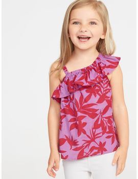 One Shoulder Ruffle Trim Swing Top For Toddler Girls by Old Navy