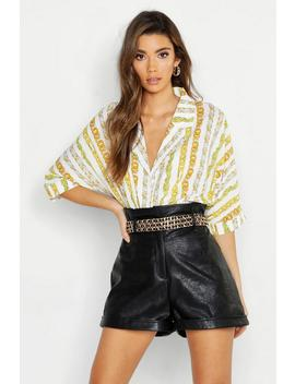 Chain Stripe Print Revere Collar Shirt by Boohoo