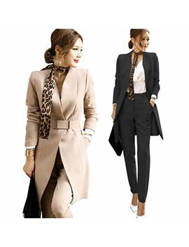 Women's 2 Piece Business Mid Long Blazer And Pants Suit Set With Belt Single Button Work Office Blazer Jacket by Osemall