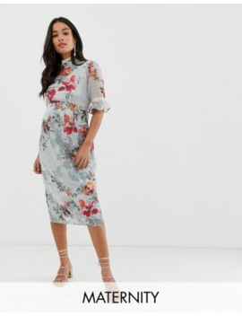 Hope &Amp; Ivy Maternity Ruffle Sleeve Pencil Dress In Blue Floral by Hope And Ivy Maternity