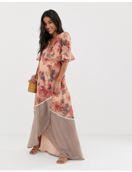 Hope &Amp; Ivy Maternity Wrap Front Maxi Dress With Frill Sleeve In Contrast Floral Print by Hope And Ivy Maternity