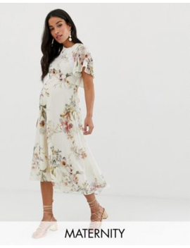 Hope &Amp; Ivy Maternity Open Back Midi Dress In Cream Floral by Hope And Ivy Maternity