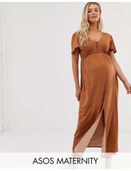 Asos Design Maternity Jersey Crepe Maxi Tea Dress With Self Covered Buttons In Brown Spot by Asos Design
