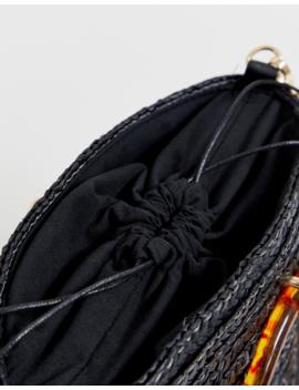 New Look Straw Resin Handle Bucket Bag In Black by New Look