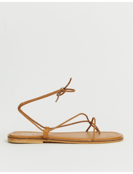 Missguided Barely There Flat Sandal With Tie Leg In Tan by Missguided