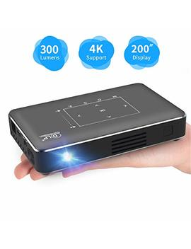 Haidiscool Pico Portable Projector, Mini Pocket Video Smart Phone Dlp Android Projector 300 Ansi Lumen With Bluetooth/Usb/Hdmi/2 Gb Ram, Support 1080 P 4 K Movie, For Outdoor/Home Cinema by Haidiscool