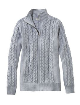 Double L® Mixed Cable Sweater, Zip Front Cardigan by L.L.Bean
