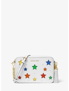 Ginny Medium Star Cutout Pebbled Leather Crossbody Bag by Michael Michael Kors