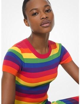 Rainbow Stretch Viscose Short Sleeve Sweater by Michael Michael Kors