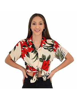 Island Style Clothing   Ladies Hawaiian Shirt Floral Leaf Print Tropical Blouse Top by Favant