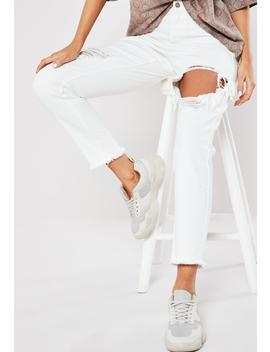 White Riot Open Thigh Denim Mom Jeans by Missguided