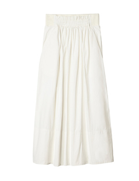 Heavy Nylon Shirred Waistband Full Skirt by Tibi