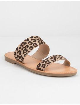 Soda Double Strap Cheetah Womens Sandals by Soda