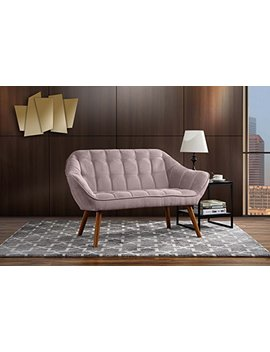 Couch For Living Room, Tufted Linen Fabric Love Seat (Pink) by Divano Roma Furniture