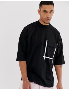 Asos Design Oversized T Shirt With Turtle Neck With Pocket And Contrast Tape by Asos Design