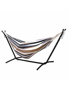 Zeny Double Hammock 9' With Space Saving Steel Stand Includes Portable Carrying Case (Desert Stripe) by Zeny