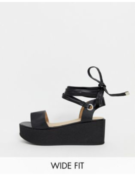 Raid Wide Fit Denise Black Flatform Sandals by Raid