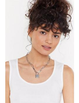 Silver Chain Padlock Necklace by Nasty Gal