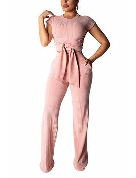 Vlunt Women's Sexy 2 Piece Outfits V Neck Crop Top And Wide Leg Long Pants Jumpsuits Set by Vlunt