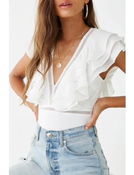 Plunging Ruffle Trim Bodysuit by Forever 21