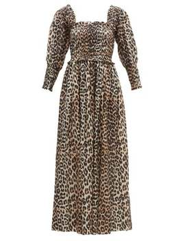 Shirred Leopard Print Cotton Blend Maxi Dress by Ganni