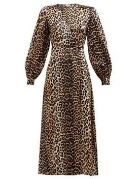 Leopard Print Satin Wrap Dress by Ganni
