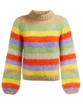 Julliard Striped Mohair And Wool Blend Sweater by Ganni