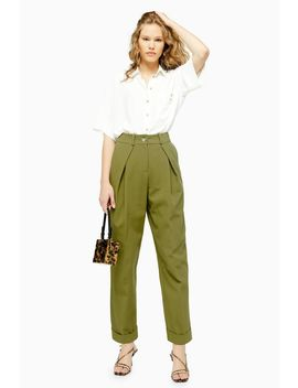 Khaki Ovoid Trousers by Topshop