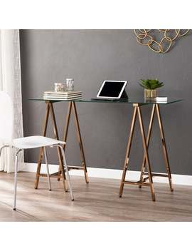 Silver Orchid Scott Metal/Glass Sawhorse Desk by Silver Orchid