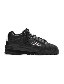 Trailblazer Logo Appliquéd Leather Sneakers by Fila