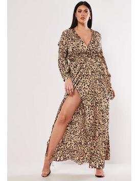 Plus Size Brown Leopard Print Plunge Maxi Dress by Missguided