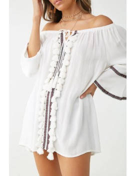 Embroidered Tassel Off The Shoulder Tunic by Forever 21