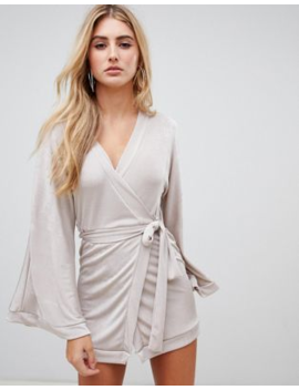 Missguided Slinky Plunge Neck Midi Dress In Silver by Missguided