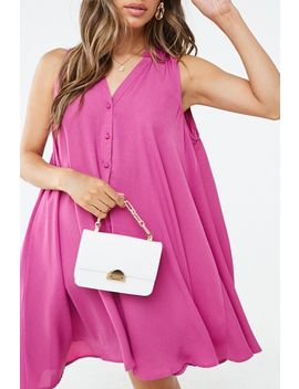 Button Front Swing Dress by Forever 21