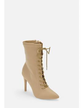 Nude Lace Up Pointed Toe Heeled Boots by Missguided