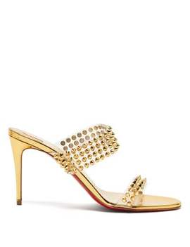 Spikes Only 85 Mirrored Leather Sandals by Christian Louboutin