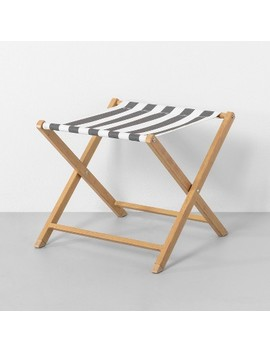 Outdoor Seating Accent Stool Stripe Gray / White   Hearth &Amp; Hand With Magnolia by Hearth & Hand With Magnolia