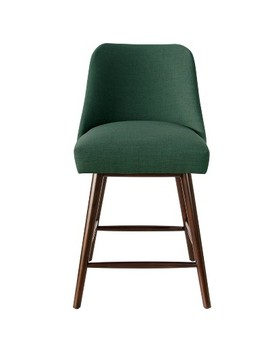 Rounded Back Counter Stool In Linen Conifer Green   Project 62 by Project 62