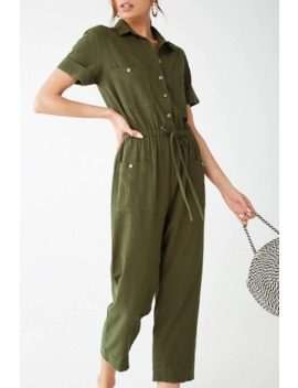 Button Front Utility Jumpsuit by Forever 21