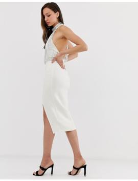 Asos Design Tall Embellished Top Halter Midi Pencil Dress by Asos Design