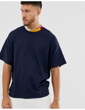 Asos Design Oversized T Shirt With Contrast Tipping In Navy by Asos Design
